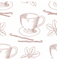 Sketched coffee cup with vanilla flower outline vector image vector image