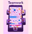 teamwork at smartphone desk coworking concept vector image vector image