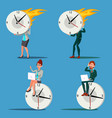 time management man woman procrastination vector image vector image
