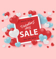 valentines day sale banner with sign in bright red vector image vector image