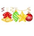Vintage Christmas 3d decoration toys vector image