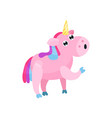 cute cartoon pink unicorn with multicolored mane vector image