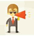 Young businessman with a megaphone vector image