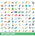100 plane icons set isometric 3d style vector image vector image
