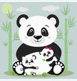 a sweet panda sits and holds a child with a bow vector image vector image