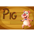 A wooden frame with a pig vector image vector image