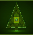 abstract technology christmas tree with vector image vector image