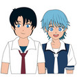 anime boy and girl students with uniform image vector image vector image