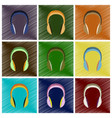 assembly flat shading style icons headphones vector image vector image