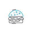 baked fish linear icon concept baked fish line vector image