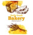 Bakery watercolor and sketch background Vintage vector image vector image