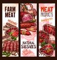 banner sketch butchery shop meat product vector image vector image