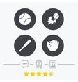 Baseball icons Ball with glove and bat symbols vector image vector image