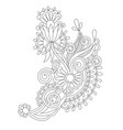 black line drawing of paisley design flower vector image vector image