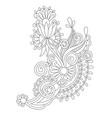 black line drawing paisley design flower vector image vector image
