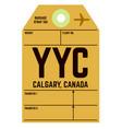 calgary airport luggage tag vector image vector image