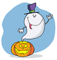 Cartoon Character Happy Ghost Pumpkin Leaves vector image vector image
