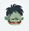 cartoon funny gray zombie hairy head vector image vector image
