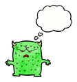 cartoon little alien with thought bubble vector image