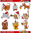 Cartoon Set of Christmas Cats and Dogs vector image
