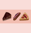 chocolate cake and eclair hand drawn bakery vector image vector image