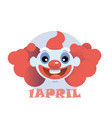 clown flat icon cartoon head vector image vector image