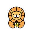 cute lion coin dollar money cartoon playful logo vector image