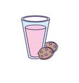 delicious yogurt with chocolate cookies vector image