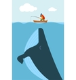 fisherman and huge whale vector image vector image