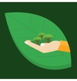 go green hand holding plant tree leaf environment vector image vector image
