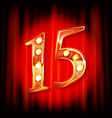gold numbers 15 greeting card vector image vector image
