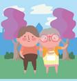 grandmother and grandfather cartoon design vector image