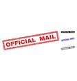 grunge official mail scratched rectangle stamps vector image vector image