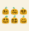 halloween pumpkin icon set flat vector image vector image