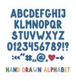 hand drawn english alphabet punctuation marks vector image