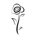 hand drawn rose flower symbol isolated sketch vector image