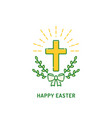 happy easter greeting card christian cross with vector image