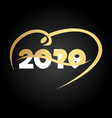 happy new year 2020 with heart modern 2020 text vector image vector image
