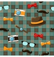 Hipster items on seamless tablecloth vector image vector image