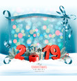 holiday christmas background with 2019 and a gift vector image vector image