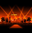 hollywood cityscape background movie red carpet vector image vector image