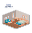 isometric floor plan of hotel bedroom interior vector image vector image
