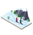 isometric man and woman skiing happy couple loves vector image