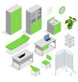 isometric set of hospital equipment and furniture vector image
