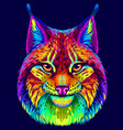 lynx abstract neon multicolored portrait vector image vector image