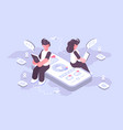 man and woman using social media on modern gadgets vector image vector image