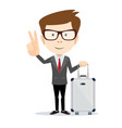 man holding modern suitcase with wheels flat vector image vector image
