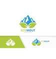 mountain and leaf logo combination nature vector image
