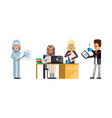 multiethnic business staff working in office vector image vector image