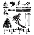 Nordic Skiing Vintage Elements vector image vector image